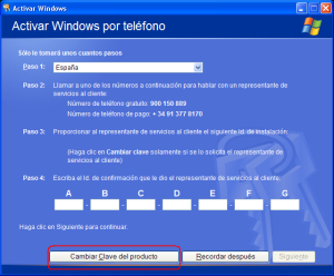 Cambiar clave de Windows