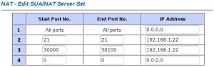 NAT: puertos 21, 30000-30100